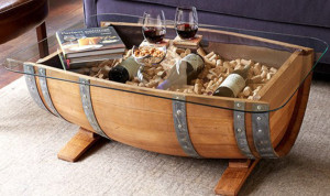 wine coffee table made from barrels st louis