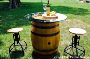 wedding rental wine table and barstools