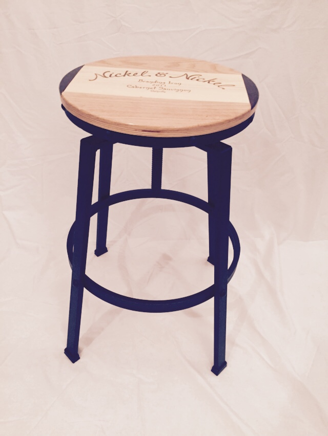 Wine Crate Panel Adjustable Bar Stool Live Oak Wine Decor
