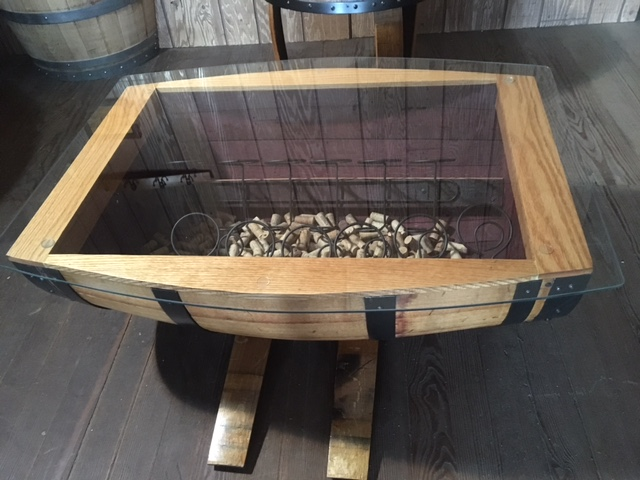 wine barrel table with wine rack