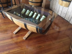 glass top wine barrel coffee table without wine racks – live oak