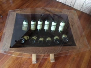 table that has a wine rack inside