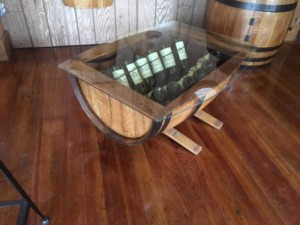 Glass Top Wine Barrel Coffee Table Without Wine Racks