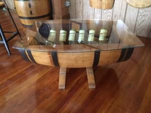 wine table with wine rack