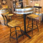 wine barrel table and barstool