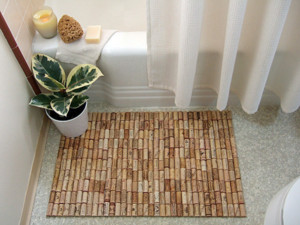 used wine corks make a bath mat
