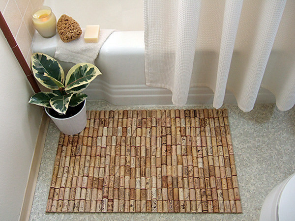 used wine corks make a bath mat